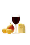 Cheese, fruit and wine. Fruit, cheese and glass of red wine on a white background Stock Photos