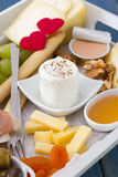 Cheese with fruits, honey Stock Photo