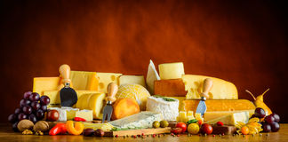Cheese with Fruits and Vegetables Royalty Free Stock Image