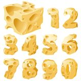 Cheese figures set. Cheese full figures set. Vector typeface alphabet Stock Images