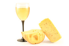 Cheese and a glass with wine Royalty Free Stock Photography