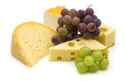 Cheese and grape Stock Images