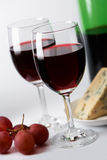 Cheese, grape and red wine Royalty Free Stock Photography
