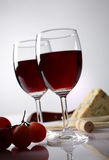 Cheese, grape and red wine Royalty Free Stock Photos