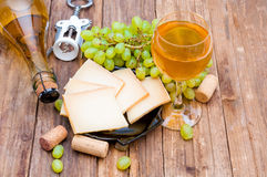 Cheese, grape and wine Royalty Free Stock Image