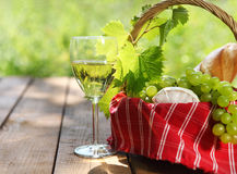 Cheese, grapes, bread and two glasses of the white wine. Outdoors Stock Images
