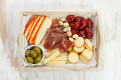 Cheese with grapes Stock Images