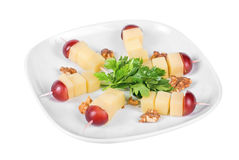 Cheese and grapes and nuts Stock Photo