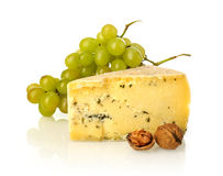 Cheese, grapes and nuts Royalty Free Stock Photos
