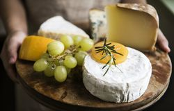 Cheese and grapes on the plater Royalty Free Stock Photo