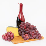 Cheese grapes and red wine Stock Photography