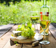 Cheese, grapes and two glasses of the white wine Stock Photography