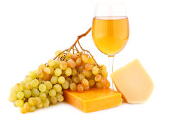 Cheese, grapes and wine Stock Images