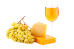 Cheese, grapes and wine Royalty Free Stock Photo