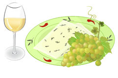 Cheese, grapes and wine vector Royalty Free Stock Photo