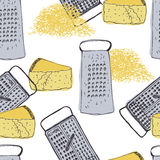 Cheese and grater vintage background Royalty Free Stock Photos