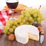 Cheese and green grapes Royalty Free Stock Photography