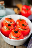 Cheese and Green Olive Stuffed Tomatoes Stock Photo