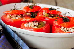 Cheese and Green Olive Stuffed Tomatoes Stock Photos