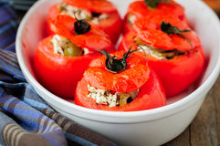 Cheese and Green Olive Stuffed Tomatoes Stock Photography