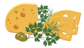 Cheese with Green and Olives. Yellow Cheese with Green and Olives Stock Illustration
