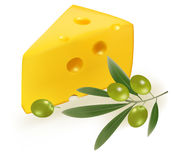 Cheese with green olives. Stock Photos
