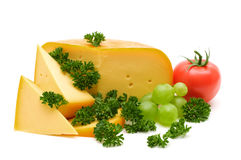 Cheese and greens Stock Photos