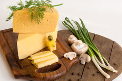 Cheese with greens and mushrooms Royalty Free Stock Photo