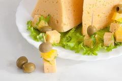 Cheese with greens and olives Stock Image