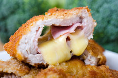 Cheese ham cutlet Stock Photos