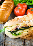 Cheese and ham. Fresh big sandwich with ham and cheese.selective focus on the sandwichs royalty free stock images