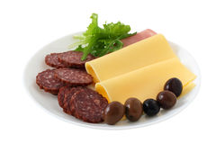Cheese with ham, olives and sausages Stock Photos
