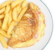 Cheese & Ham Omelet & Chips. Omelet stuffed with cheese and ham with chips Stock Photos