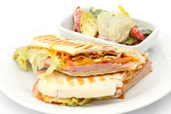 Cheese and ham panini. Royalty Free Stock Photography