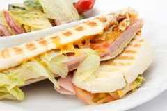Cheese and ham panini. Stock Photo
