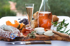 Cheese- ham plate A la Provence Stock Photography
