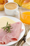 Cheese and ham on plate Royalty Free Stock Photo
