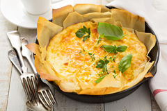 Cheese and ham quiche stock photo