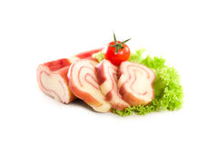 Cheese and ham roll isolated on the white background Royalty Free Stock Photos