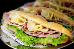 Cheese, ham and salad baguettes. Royalty Free Stock Photos
