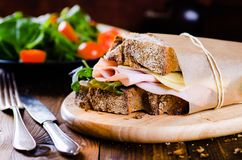 Cheese and ham sandwich. Of fresh organic bread stock photos