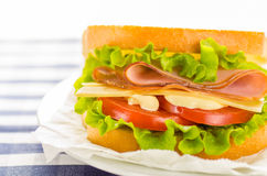 Cheese and ham sandwich with fresh vegetables and mayonnaise Stock Photos