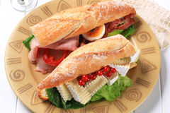 Cheese and ham sub sandwiches Stock Photography