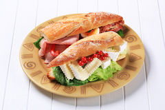 Cheese and ham sub sandwiches Royalty Free Stock Photos
