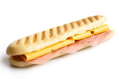 Cheese and ham toasted panini. Isolated on white. stock image