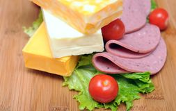 Cheese, ham, and vegetables Stock Photography