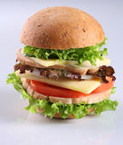 Cheese hambuger. Burger stuff with ham, potato, cheese, onion and vegetable Stock Photo