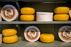 Cheese heads on display in Henry Willig store, selective focus, The Netherlands, October 12, 2017 stock photos