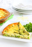 Cheese, herb and pea quiche Stock Photos
