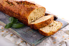 Cheese, herb and  zucchini bread. On board Royalty Free Stock Photo